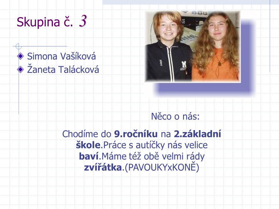 3 Skupina č. 3 Simona Vašíková Žaneta Talácková Něco o nás: Chodíme do 9.ročníku na 2.základní škole.Práce s autíčky nás velice baví.Máme též obě velm