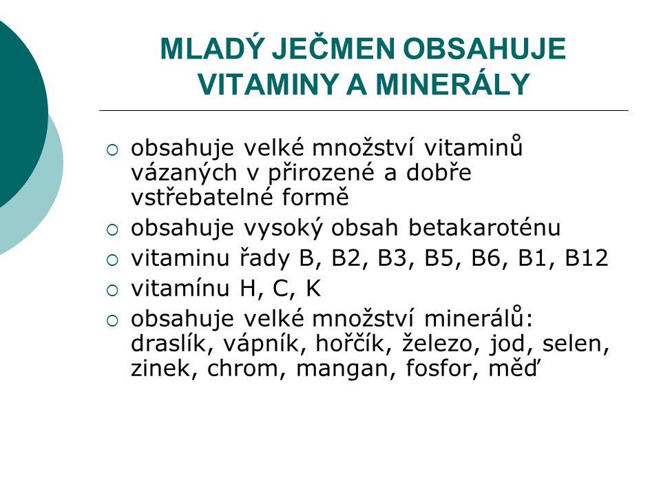 MLADÝ JEČMEN OBSAHUJE VITAMINY A MINERÁLY  obsahuje velké množství vitaminů vázaných v přirozené a dobře vstřebatelné formě  obsahuje vysoký obsah betakaroténu  vitaminu řady B, B2, B3, B5, B6, B1, B12  vitamínu H, C, K  obsahuje velké množství minerálů: draslík, vápník, hořčík, železo, jod, selen, zinek, chrom, mangan, fosfor, měď