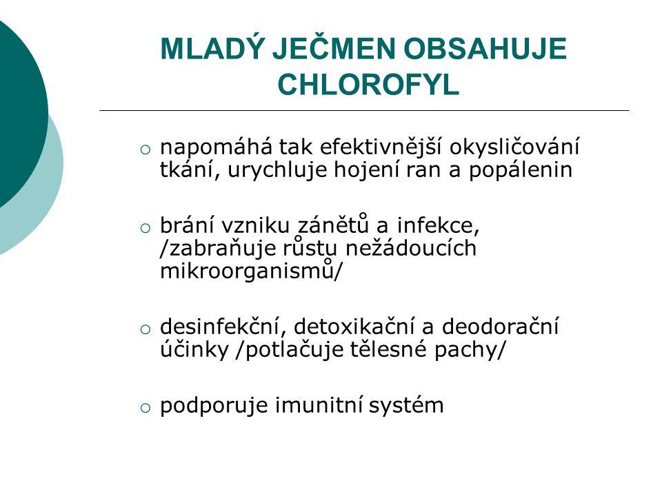 MLADÝ JEČMEN OBSAHUJE CHLOROFYL o napomáhá tak efektivnější okysličování tkání, urychluje hojení ran a popálenin o brání vzniku zánětů a infekce, /zabraňuje růstu nežádoucích mikroorganismů/ o desinfekční, detoxikační a deodorační účinky /potlačuje tělesné pachy/ o podporuje imunitní systém