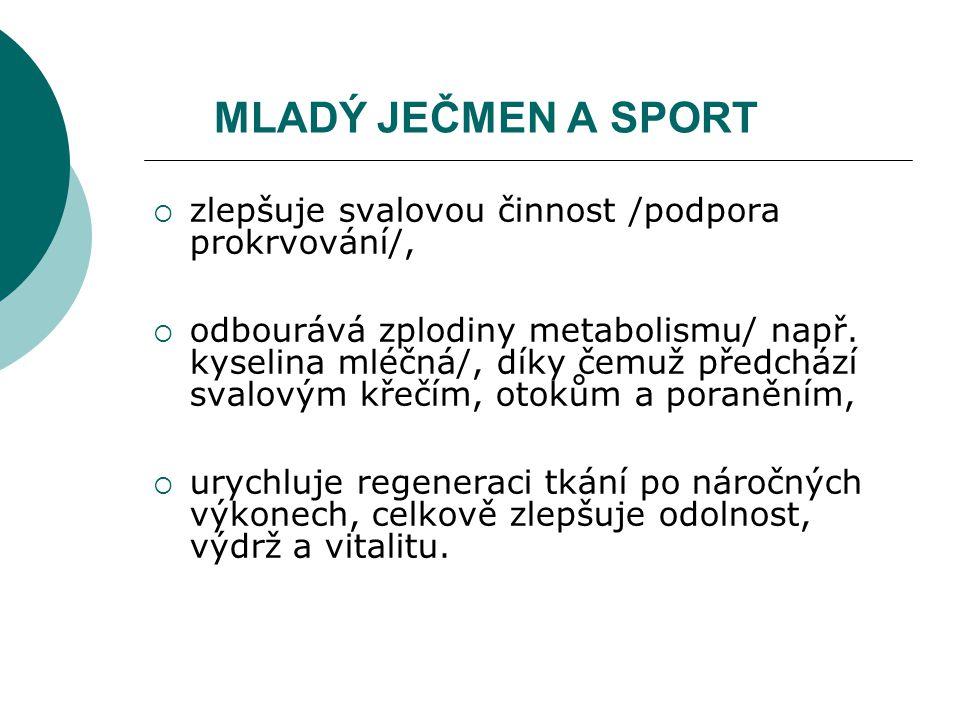 MLADÝ JEČMEN A SPORT  zlepšuje svalovou činnost /podpora prokrvování/,  odbourává zplodiny metabolismu/ např. kyselina mléčná/, díky čemuž předchází
