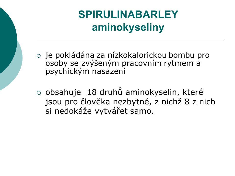 SPIRULINABARLEY aminokyseliny  je pokládána za nízkokalorickou bombu pro osoby se zvýšeným pracovním rytmem a psychickým nasazení  obsahuje 18 druhů aminokyselin, které jsou pro člověka nezbytné, z nichž 8 z nich si nedokáže vytvářet samo.