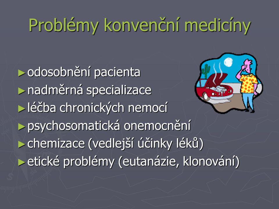 ► odosobnění pacienta ► nadměrná specializace ► léčba chronických nemocí ► psychosomatická onemocnění ► chemizace (vedlejší účinky léků) ► etické problémy (eutanázie, klonování) Problémy konvenční medicíny