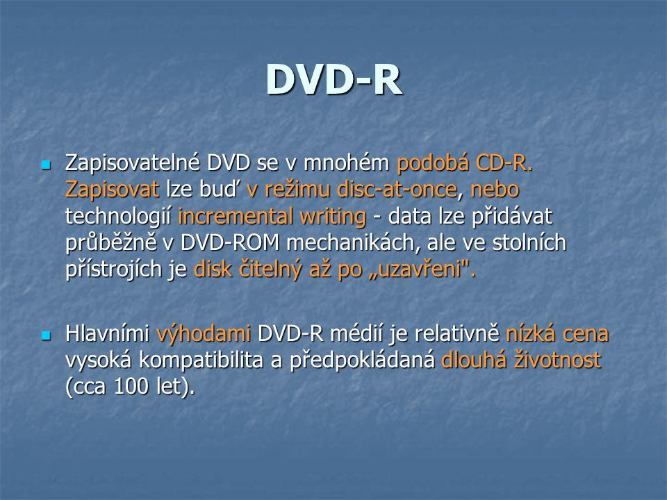 DVD-R  Zapisovatelné DVD se v mnohém podobá CD-R.