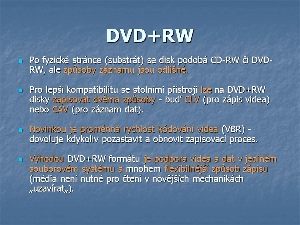 DVD+RW  Po fyzické stránce (substrát) se disk podobá CD-RW či DVD- RW, ale způsoby záznamu jsou odlišné.