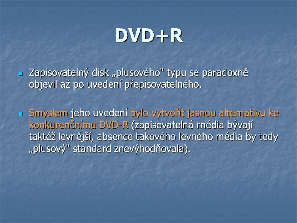 """DVD+R  Zapisovatelný disk """"plusového typu se paradoxně objevil až po uvedení přepisovatelného."""