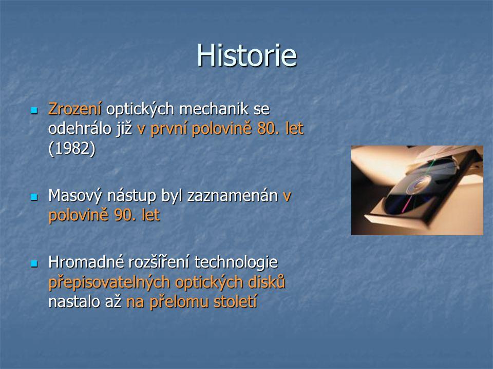 Historie  DVD disky se objevují v letech 1995-96  První DVD-RW mechaniky byly uvedeny na sklonku roku 1999  první mechanika, která zvládala zápis na CD-R/RW i DVD-R/RW se objevila v roce 2001  Na počátku roku 2002 se objevil formát DVD+R.