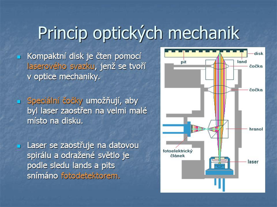 Princip optických mechanik  Kompaktní disk je čten pomocí laserového svazku, jenž se tvoří v optice mechaniky.