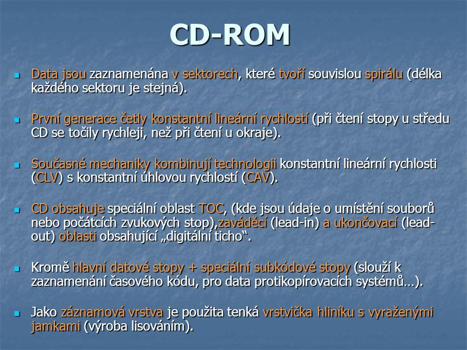 CD-R  Prakticky identické s jednotkou CD-ROM co do struktury  Jako záznamová vrstva je použit organický materiál schopný propouštět světlo laseru k odrazivé vrstvě na horní straně disku.