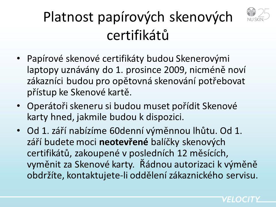 Platnost papírových skenových certifikátů • Papírové skenové certifikáty budou Skenerovými laptopy uznávány do 1.