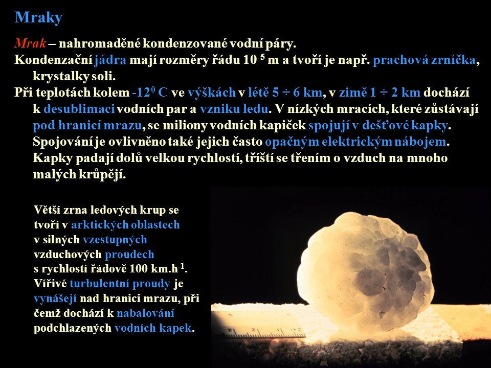 Mraky Mrak – nahromaděné kondenzované vodní páry. Kondenzační jádra mají rozměry řádu 10 -5 m a tvoří je např. prachová zrníčka, krystalky soli. Při t