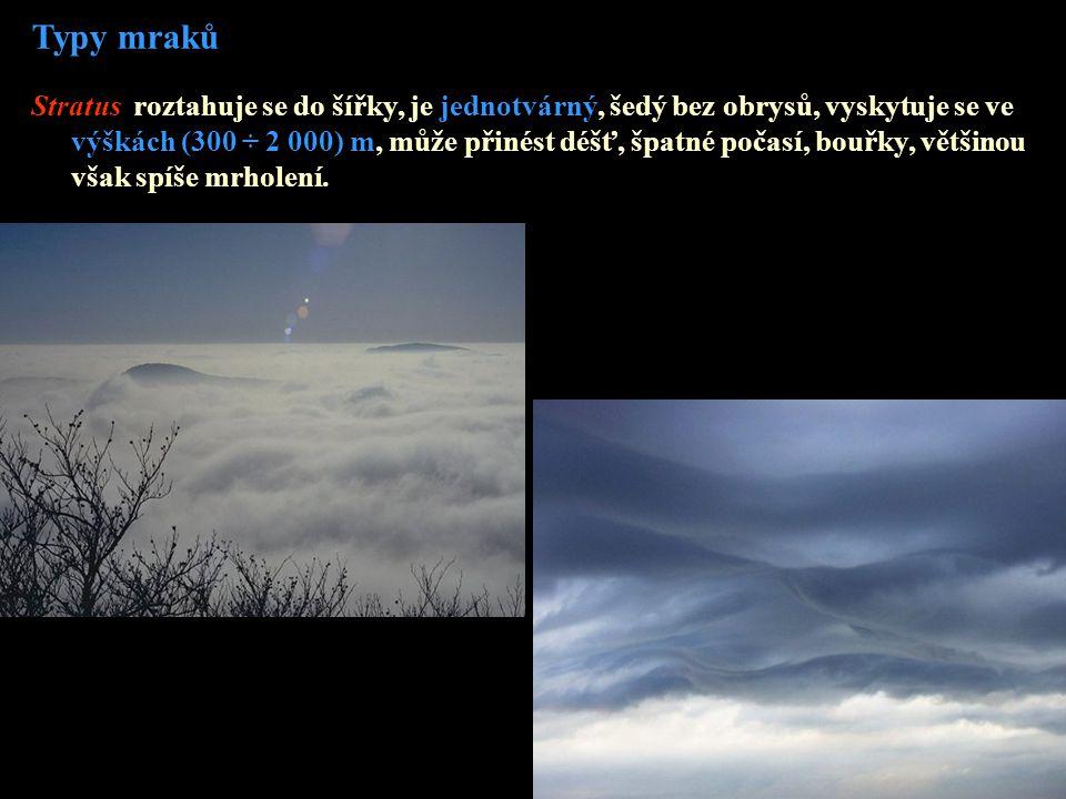 Typy mraků Stratus roztahuje se do šířky, je jednotvárný, šedý bez obrysů, vyskytuje se ve výškách (300 ÷ 2 000) m, může přinést déšť, špatné počasí,