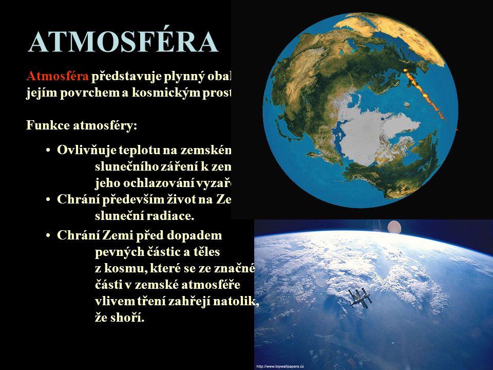 ATMOSFÉRA Atmosféra představuje plynný obal Země a tvoří přechodovou vrstvu mezi jejím povrchem a kosmickým prostorem. Funkce atmosféry: • Ovlivňuje t