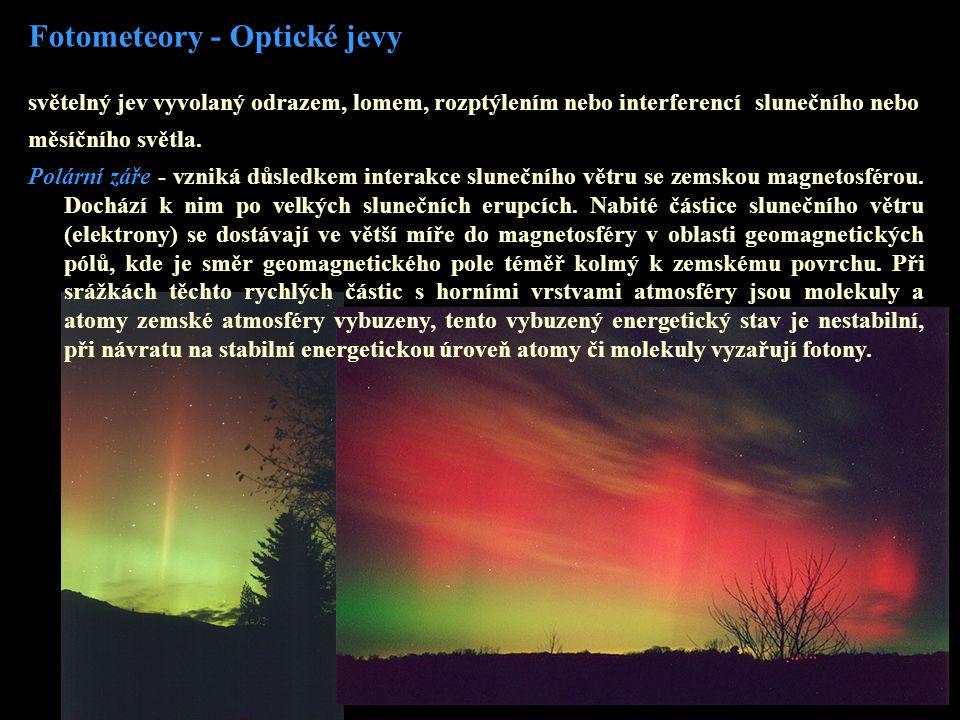 Fotometeory - Optické jevy světelný jev vyvolaný odrazem, lomem, rozptýlením nebo interferencí slunečního nebo měsíčního světla. Polární záře - vzniká
