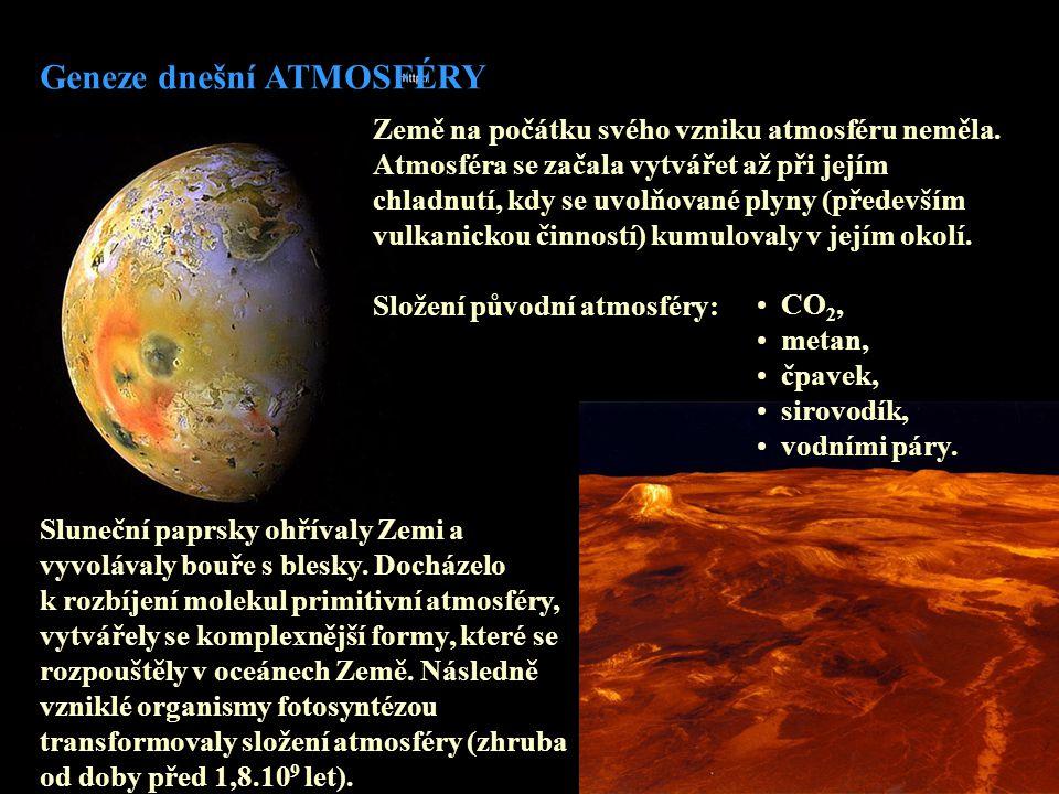 Země na počátku svého vzniku atmosféru neměla. Atmosféra se začala vytvářet až při jejím chladnutí, kdy se uvolňované plyny (především vulkanickou čin