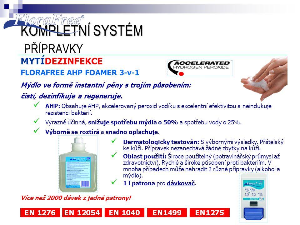 MYTÍDEZINFEKCE FLORAFREE AHP FOAMER 3-v-1 Mýdlo ve formě instantní pěny s trojím působením: čistí, dezinfikuje a regeneruje.  AHP: Obsahuje AHP, akce