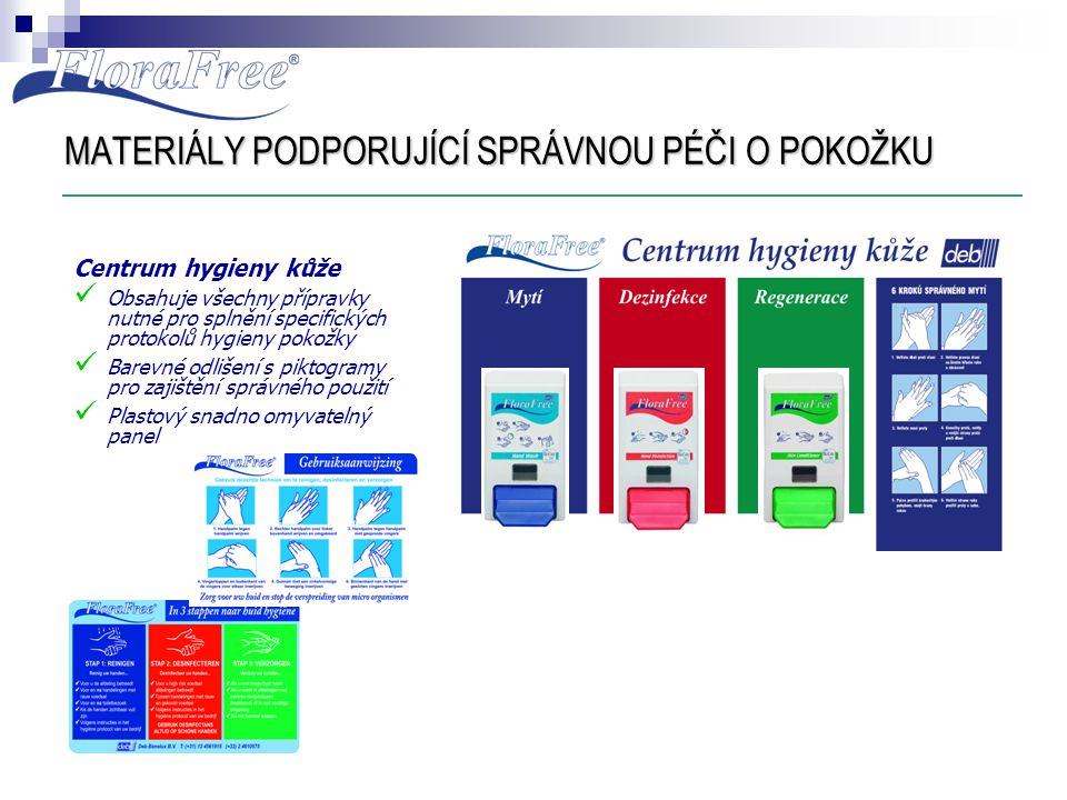 MATERIÁLY PODPORUJÍCÍ SPRÁVNOU PÉČI O POKOŽKU Centrum hygieny kůže  Obsahuje všechny přípravky nutné pro splnění specifických protokolů hygieny pokož