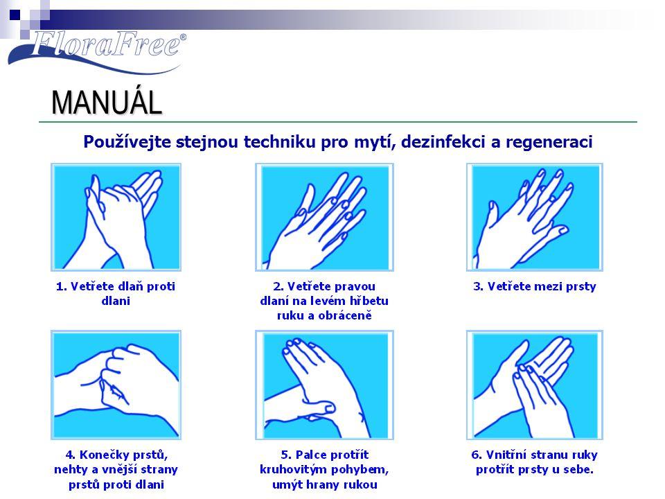 MANUÁL Používejte stejnou techniku pro mytí, dezinfekci a regeneraci