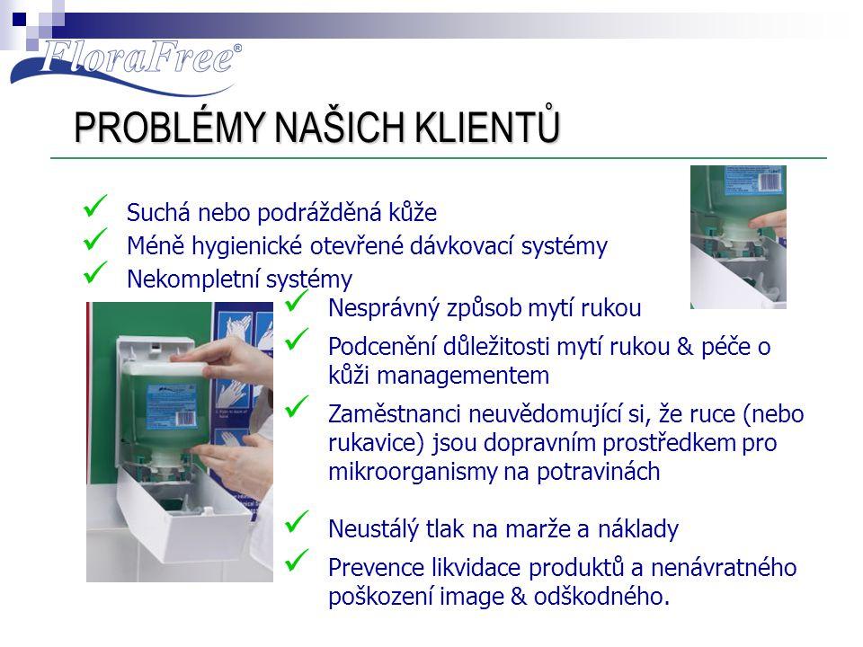 PROBLÉMY NAŠICH KLIENTŮ  Suchá nebo podrážděná kůže  Méně hygienické otevřené dávkovací systémy  Nekompletní systémy  Nesprávný způsob mytí rukou