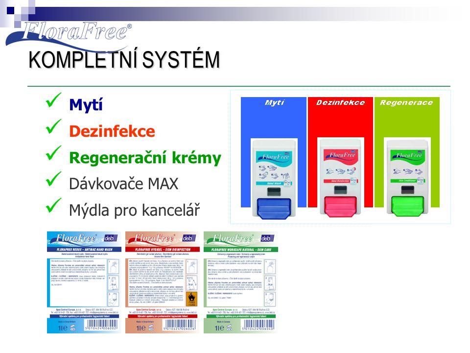 KOMPLETNÍ SYSTÉM  Mytí  Dezinfekce  Regenerační krémy  Dávkovače MAX  Mýdla pro kancelář