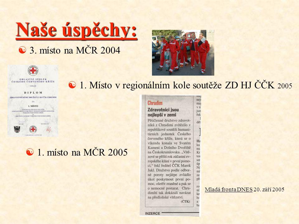 Naše úspěchy: [ 3. místo na MČR 2004 [ 1. Místo v regionálním kole soutěže ZD HJ ČČK 2005 [ 1. místo na MČR 2005 Mladá fronta DNES 20. září 2005
