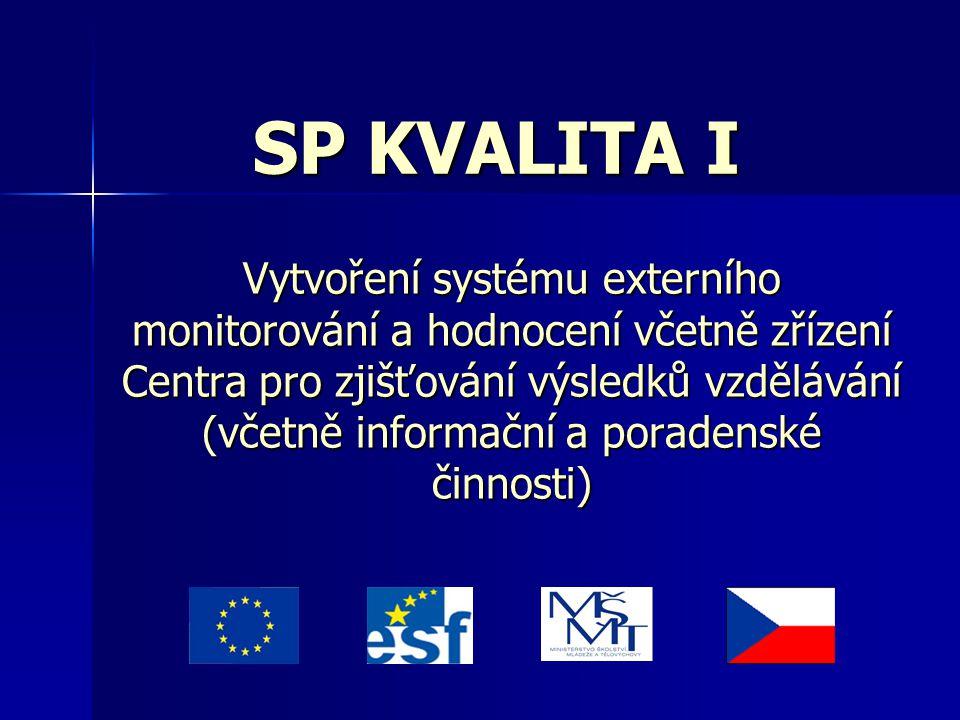 SP KVALITA I Vytvoření systému externího monitorování a hodnocení včetně zřízení Centra pro zjišťování výsledků vzdělávání (včetně informační a porade