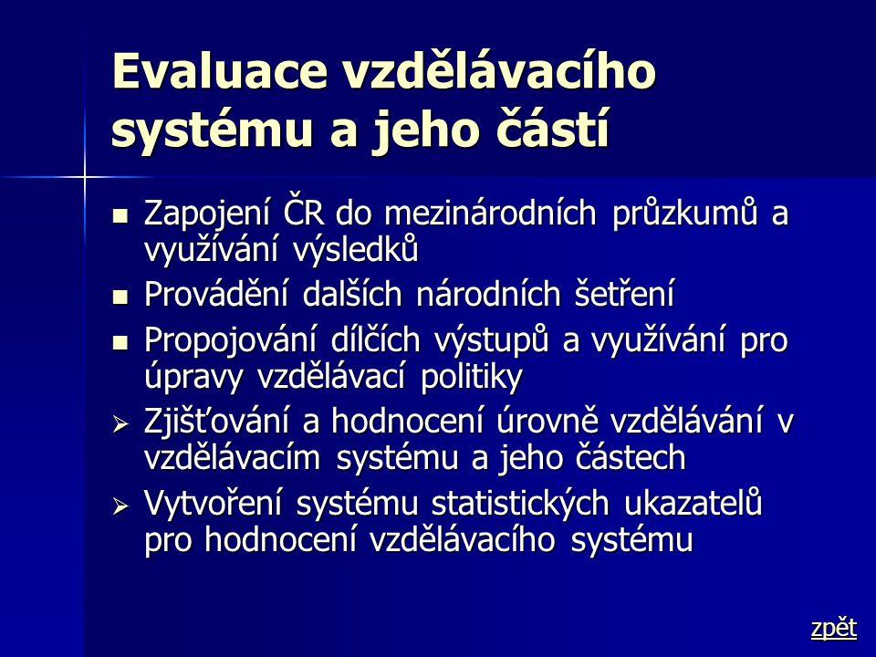 Evaluace vzdělávacího systému a jeho částí  Zapojení ČR do mezinárodních průzkumů a využívání výsledků  Provádění dalších národních šetření  Propoj