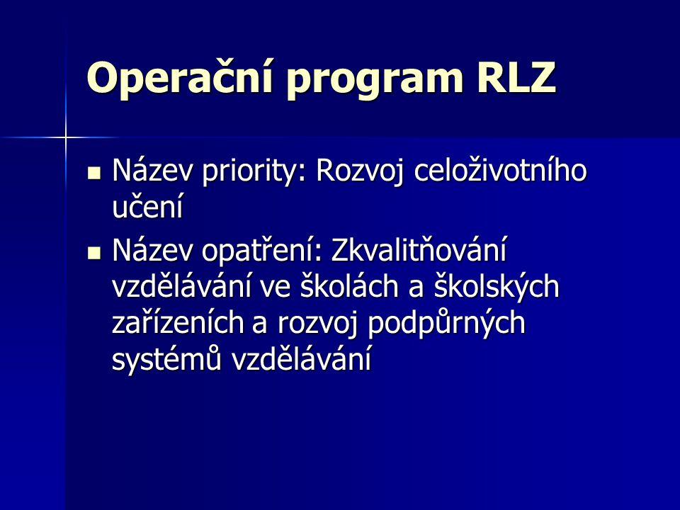 Operační program RLZ  Název priority: Rozvoj celoživotního učení  Název opatření: Zkvalitňování vzdělávání ve školách a školských zařízeních a rozvo