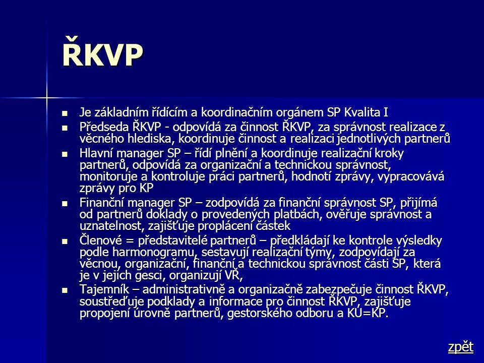 ŘKVP  Je základním řídícím a koordinačním orgánem SP Kvalita I  Předseda ŘKVP - odpovídá za činnost ŘKVP, za správnost realizace z věcného hlediska,