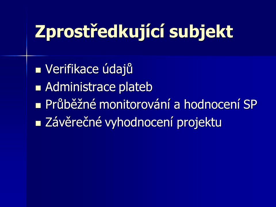 Zprostředkující subjekt  Verifikace údajů  Administrace plateb  Průběžné monitorování a hodnocení SP  Závěrečné vyhodnocení projektu