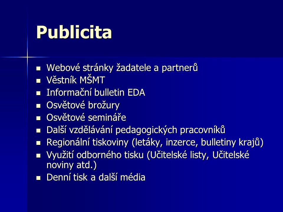Publicita  Webové stránky žadatele a partnerů  Věstník MŠMT  Informační bulletin EDA  Osvětové brožury  Osvětové semináře  Další vzdělávání peda