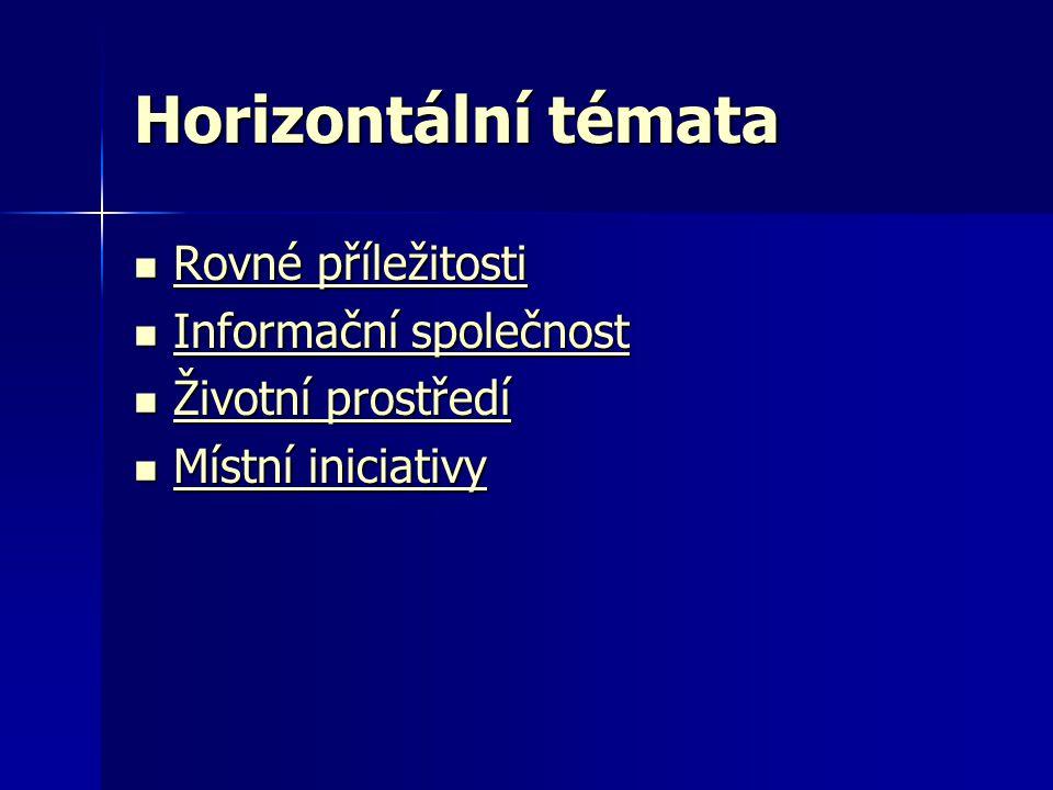Horizontální témata  Rovné příležitosti Rovné příležitosti Rovné příležitosti  Informační společnost Informační společnost Informační společnost  Ž