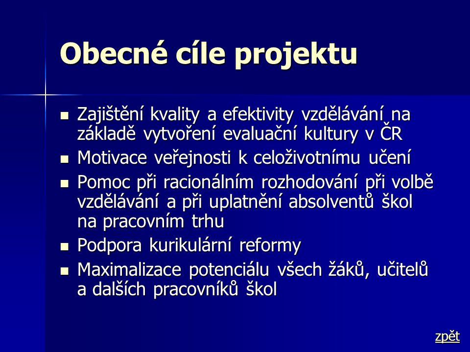 Obecné cíle projektu  Zajištění kvality a efektivity vzdělávání na základě vytvoření evaluační kultury v ČR  Motivace veřejnosti k celoživotnímu uče