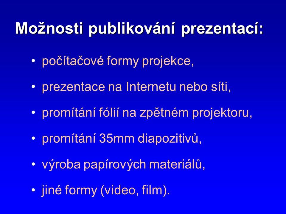 Možnosti publikování prezentací: •počítačové formy projekce, •prezentace na Internetu nebo síti, •promítání fólií na zpětném projektoru, •promítání 35