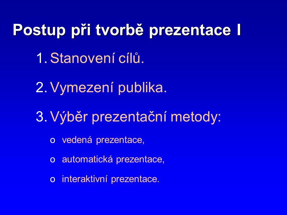 Postup při tvorbě prezentace II 4.Vytvoření obsahové náplně 5.Výběr vhodné šablony a formátu prezentace.