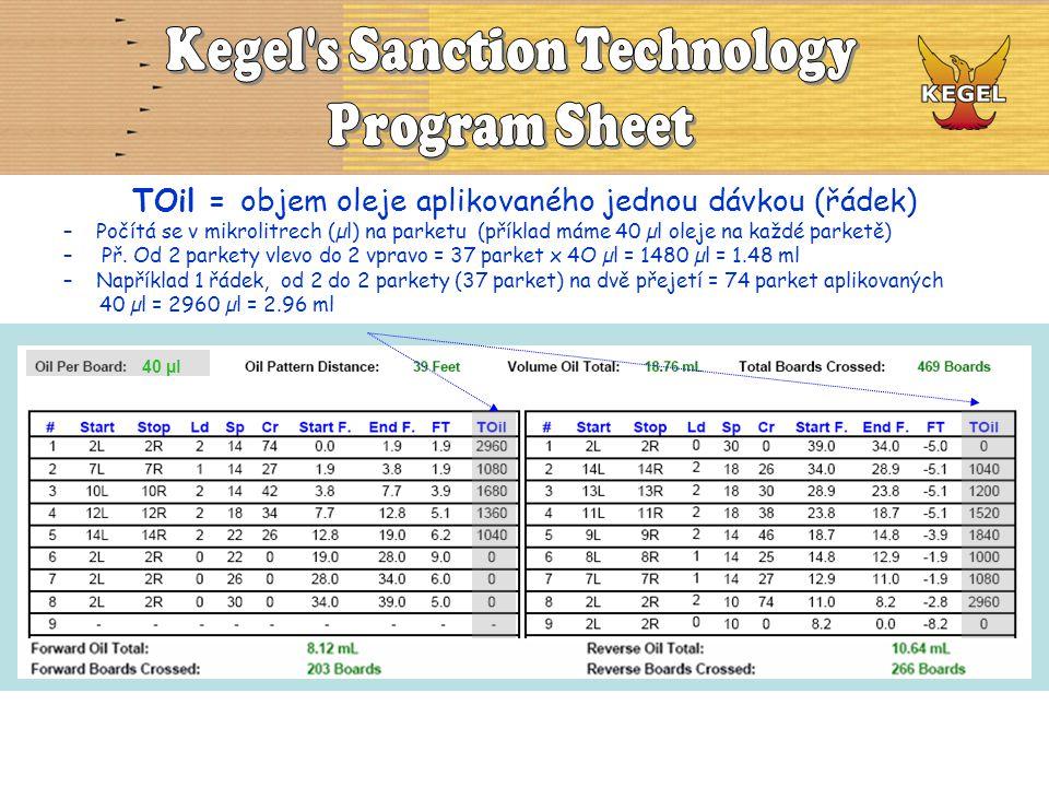 TOil = objem oleje aplikovaného jednou dávkou (řádek) –Počítá se v mikrolitrech (µl) na parketu (příklad máme 40 µl oleje na každé parketě) – Př. Od 2