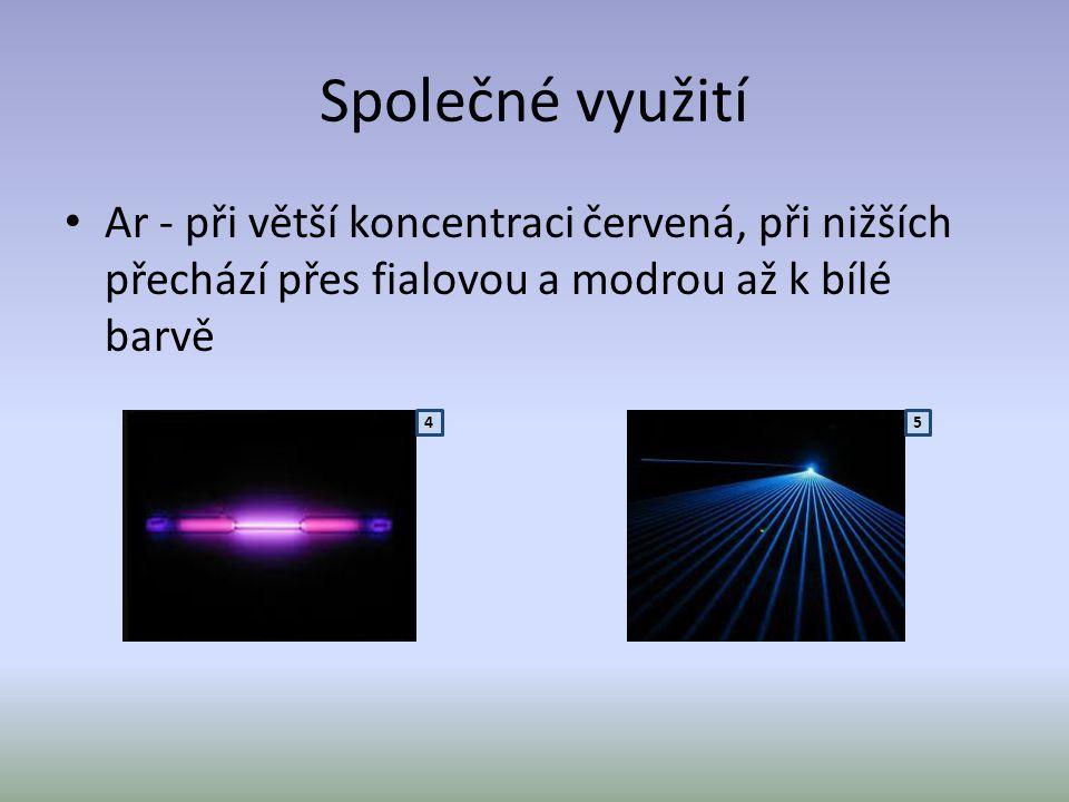Společné využití • Kr - zelenavě až světle fialová, která zřeďováním kryptonu přechází až v bílou • Xe - při velkém zředění vydává xenon pouze bílé světlo 6 7 8