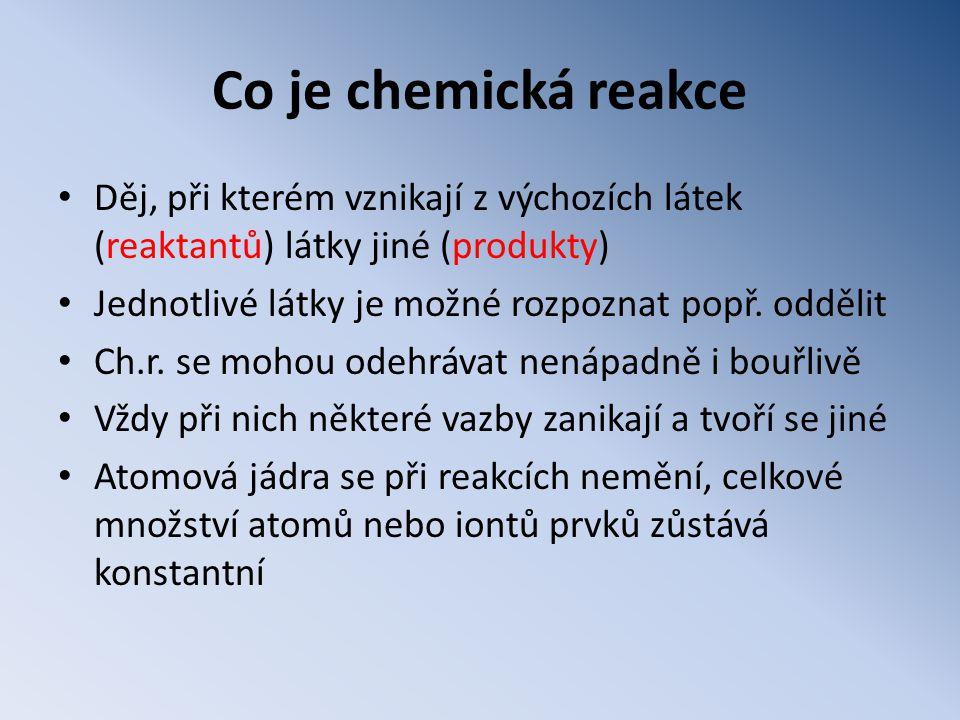 Co je chemická reakce • Děj, při kterém vznikají z výchozích látek (reaktantů) látky jiné (produkty) • Jednotlivé látky je možné rozpoznat popř.
