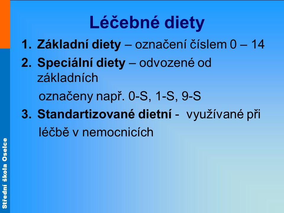 Střední škola Oselce Léčebné diety 1.Základní diety – označení číslem 0 – 14 2.Speciální diety – odvozené od základních označeny např. 0-S, 1-S, 9-S 3