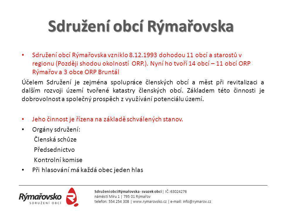 Sdružení obcí Rýmařovska • Sdružení obcí Rýmařovska vzniklo 8.12.1993 dohodou 11 obcí a starostů v regionu (Později shodou okolností ORP.).
