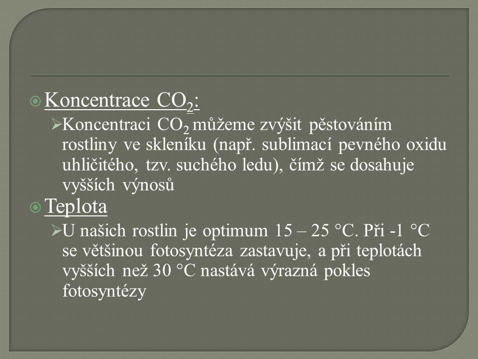  Koncentrace CO 2 :  Koncentraci CO 2 můžeme zvýšit pěstováním rostliny ve skleníku (např. sublimací pevného oxidu uhličitého, tzv. suchého ledu), č