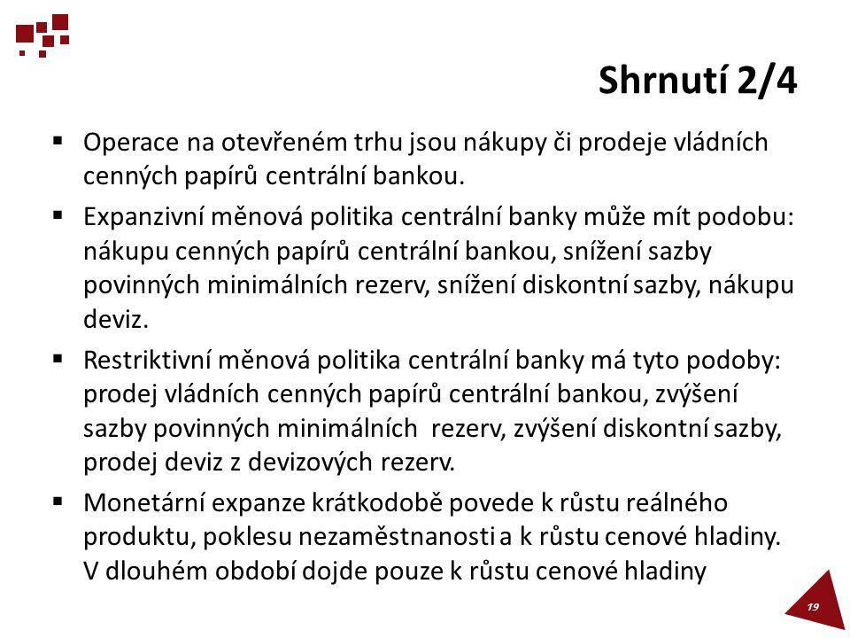 Shrnutí 2/4  Operace na otevřeném trhu jsou nákupy či prodeje vládních cenných papírů centrální bankou.  Expanzivní měnová politika centrální banky