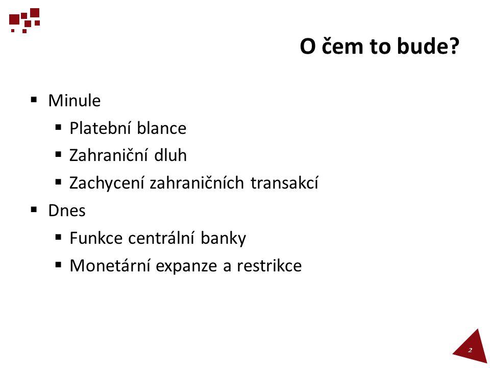 O čem to bude?  Minule  Platební blance  Zahraniční dluh  Zachycení zahraničních transakcí  Dnes  Funkce centrální banky  Monetární expanze a r