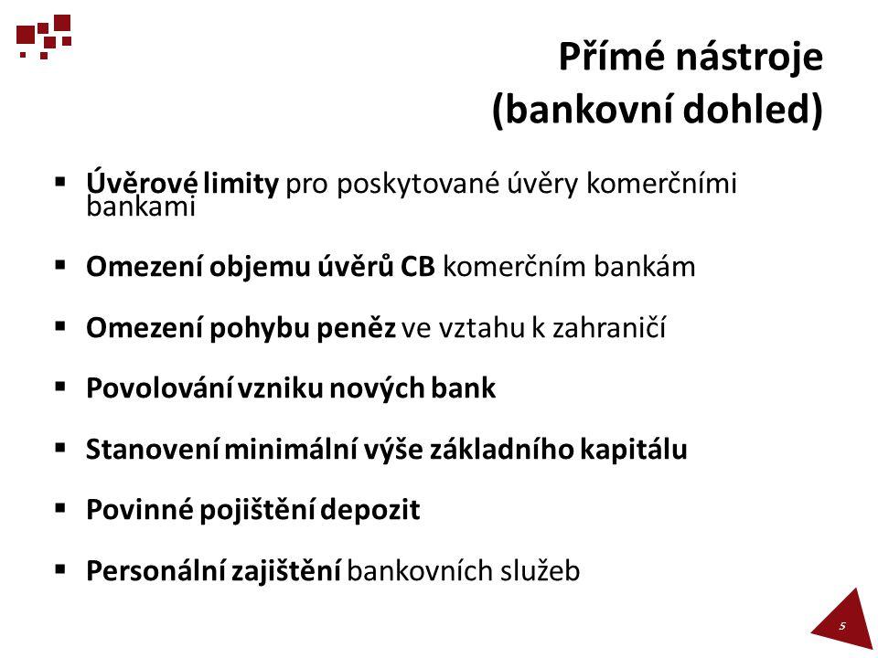 Přímé nástroje (bankovní dohled)  Úvěrové limity pro poskytované úvěry komerčními bankami  Omezení objemu úvěrů CB komerčním bankám  Omezení pohybu