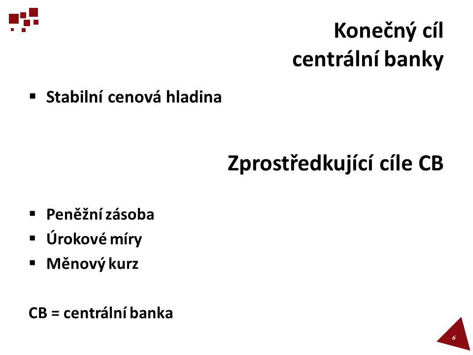 Konečný cíl centrální banky  Stabilní cenová hladina 6 Zprostředkující cíle CB  Peněžní zásoba  Úrokové míry  Měnový kurz CB = centrální banka