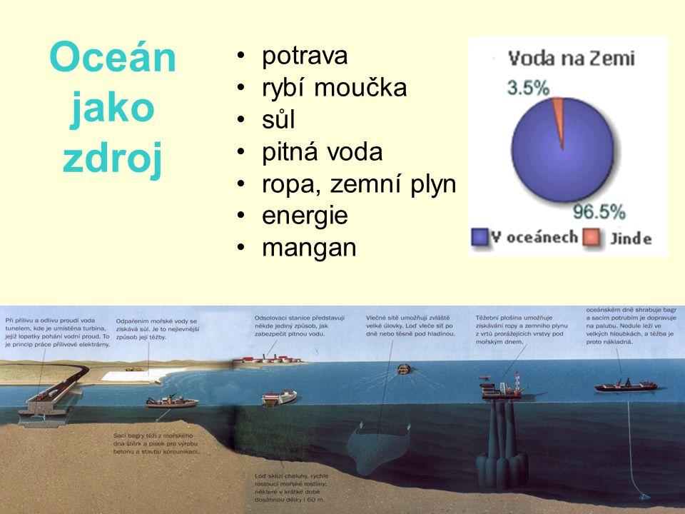 Oceán jako zdroj •potrava •rybí moučka •sůl •pitná voda •ropa, zemní plyn •energie •mangan