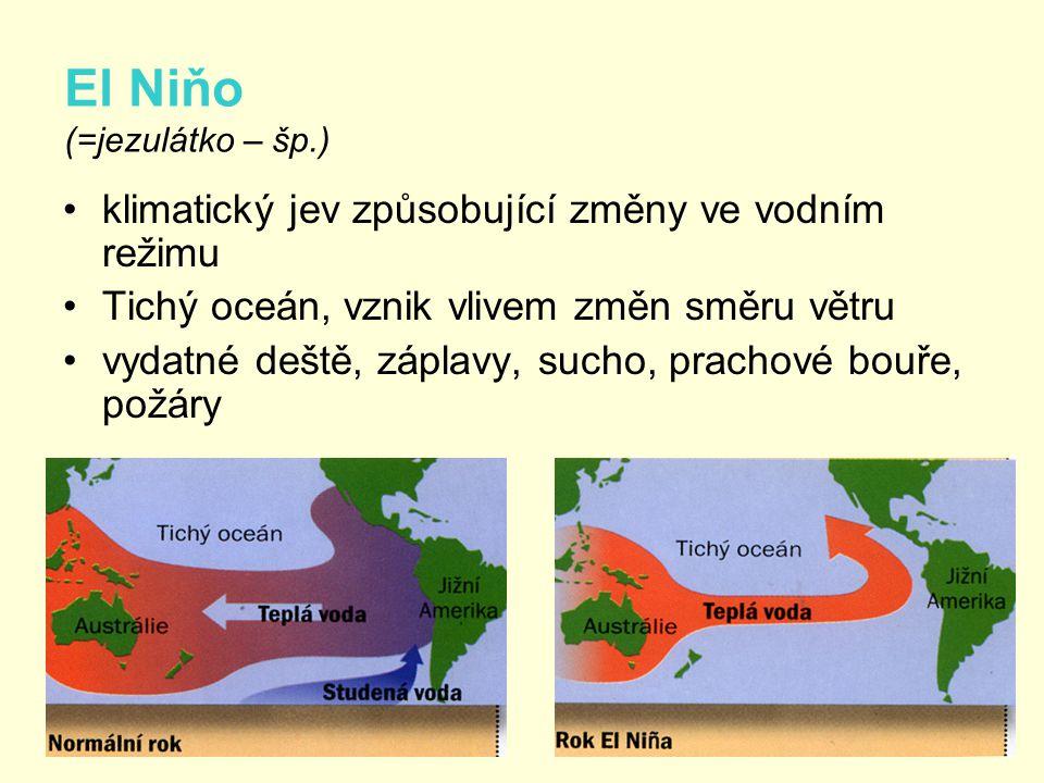 El Niňo (=jezulátko – šp.) •klimatický jev způsobující změny ve vodním režimu •Tichý oceán, vznik vlivem změn směru větru •vydatné deště, záplavy, suc