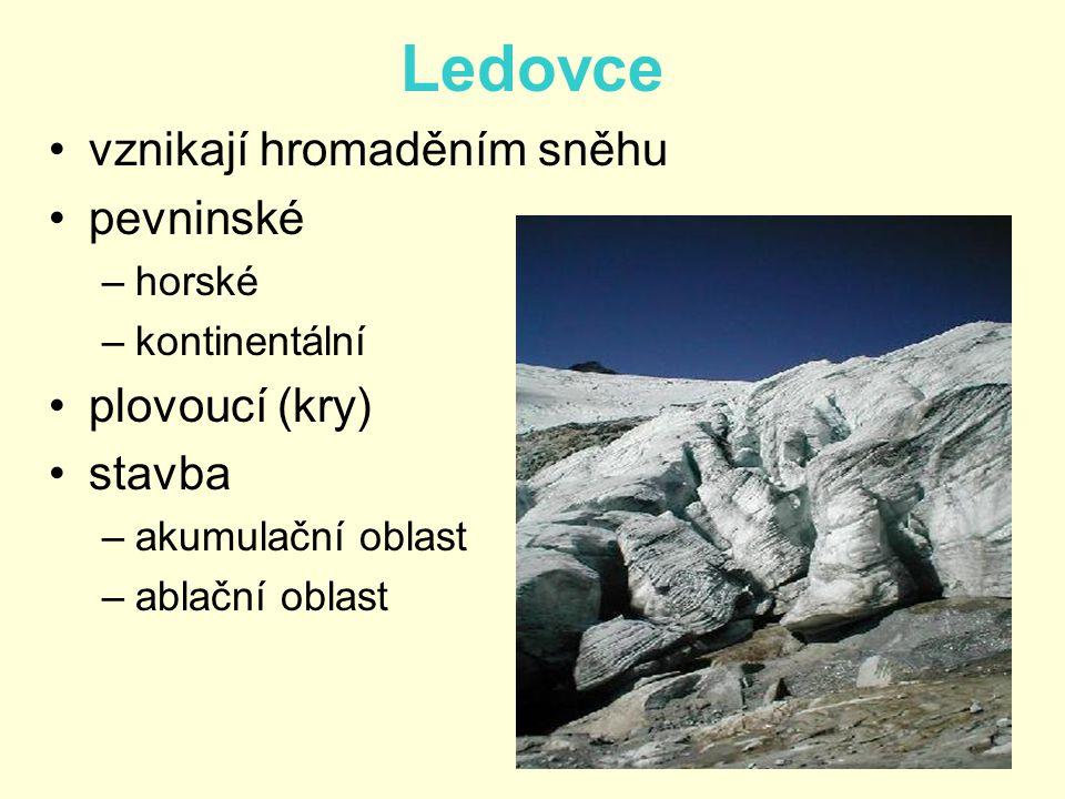 •vznikají hromaděním sněhu •pevninské –horské –kontinentální •plovoucí (kry) •stavba –akumulační oblast –ablační oblast Ledovce