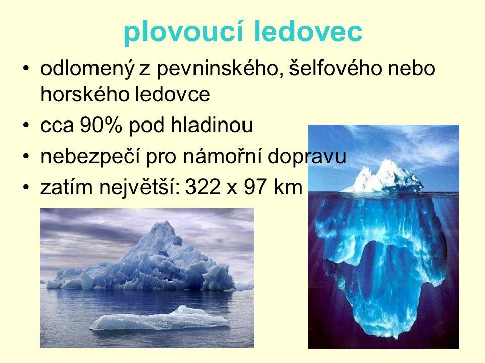 plovoucí ledovec •odlomený z pevninského, šelfového nebo horského ledovce •cca 90% pod hladinou •nebezpečí pro námořní dopravu •zatím největší: 322 x
