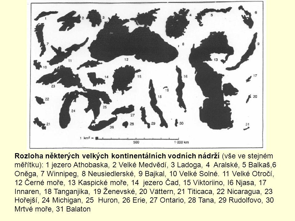 Rozloha některých velkých kontinentálních vodních nádrží (vše ve stejném měřítku): 1 jezero Athobaska, 2 Velké Medvědí, 3 Ladoga, 4 Aralské, 5 Balkaš,