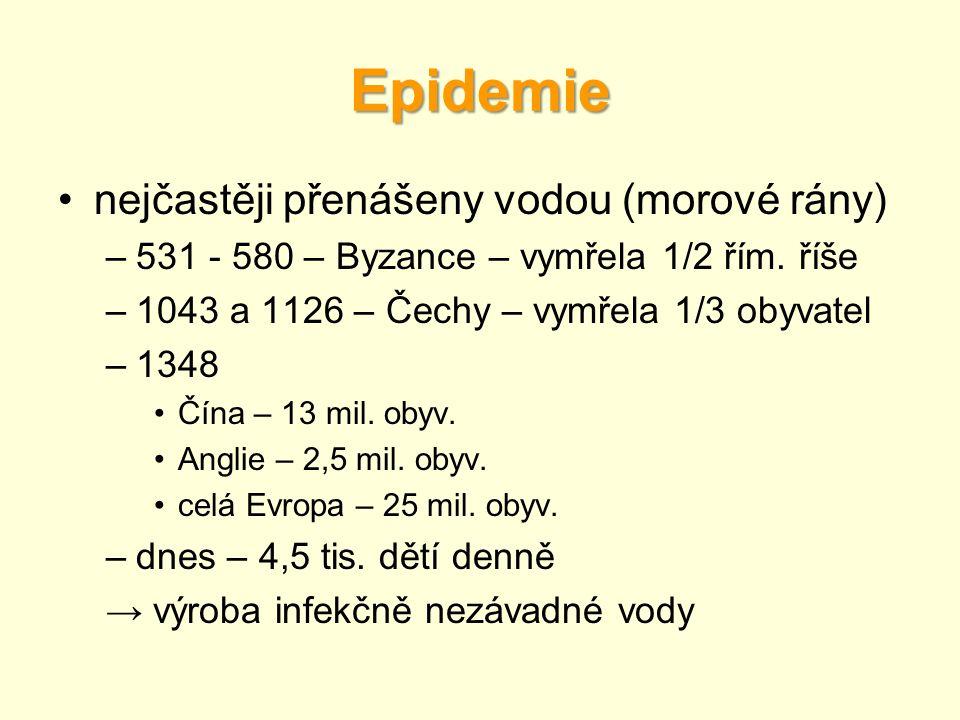 Epidemie •nejčastěji přenášeny vodou (morové rány) –531 - 580 – Byzance – vymřela 1/2 řím. říše –1043 a 1126 – Čechy – vymřela 1/3 obyvatel –1348 •Čín